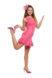 Mädchen in der rosafarbenen Kleidung lizenzfreie stockfotos