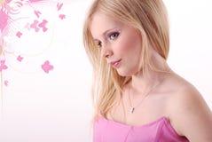 Mädchen in der rosafarbenen Oberseite Stockbild