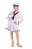 Mädchen in der Seemannklage lizenzfreie stockfotos