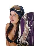 Mädchen in der Wäsche mit einem Snowboard Stockfotografie