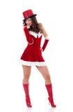 Mädchen in der Weihnachtsmann-Klage Stockbild