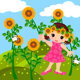 Mädchen in der Wiesenkarikatur Stockfoto