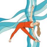 Mädchen in der Yogahaltung auf der Zusammenfassung bewegt Hintergrund wellenartig ENV, JPG Stockfotos