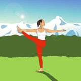 Mädchen in der Yogahaltung auf einem Hintergrund von Bergen ENV, JPG Stockbilder