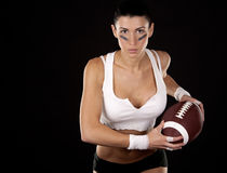 Mädchen des amerikanischen Fußballs Stockfoto