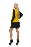 Mädchen des blonden Haares in der gelben und schwarzen Kleidung Stockfotos