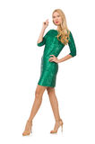 Mädchen des blonden Haares im funkelnden grünen Kleid lokalisiert Stockfotografie