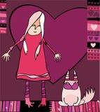 Mädchen des Valentinsgrußes mit Katze lizenzfreie abbildung
