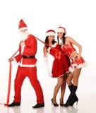 Mädchen des Weihnachtsmann-Zuges zwei Lizenzfreie Stockfotos