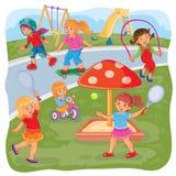 Mädchen, die auf dem Spielplatz spielen vektor abbildung