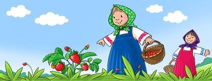 Mädchen, die Beeren auswählen Lizenzfreie Stockbilder