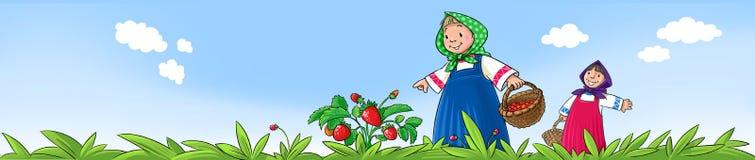 Mädchen, die Beeren auswählen Stockfotografie