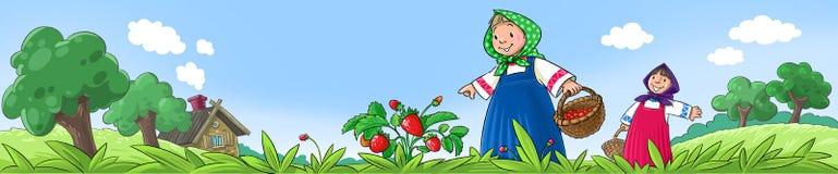 Mädchen, die Beeren auswählen Lizenzfreies Stockbild