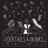 Mädchen, die an der Bargekritzelillustration trinken stockbild