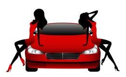 Mädchen, die durch das Auto sitzen Lizenzfreies Stockbild