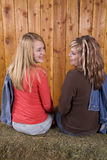 Mädchen, die einander und das Lächeln betrachten Lizenzfreies Stockfoto