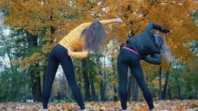Mädchen, die Gymnastik im Herbstpark aufwärmen und tun Abschluss oben Ansicht von der Rückseite stock footage