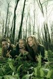 Mädchen, die im Wald sprechen stockfoto