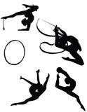 Mädchen, die rhythmisches gymnastisches ausbilden stockfoto