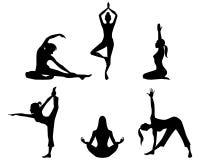 Mädchen, die Yogaschattenbilder üben lizenzfreie abbildung