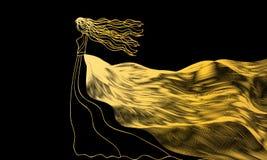 Mädchen in einem goldenen Kleid der Zusammenfassung bewegt auf a wellenartig Stockbild