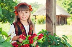 Mädchen in einem Kranz und eine Klage mit der ukrainischen Verzierung in der Landschaft mit Holzhäusern Lizenzfreie Stockfotografie