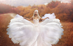 Mädchen in einem Hochzeitskleid Stockfoto
