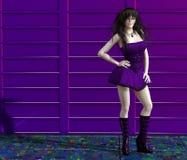 Mädchen in einem purpurroten Kleid Stockfotografie