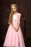 Mädchen in einem rosa Kleid stockfotos