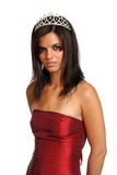 Mädchen in einem roten Abendkleid und mit einem Diadem Lizenzfreies Stockfoto