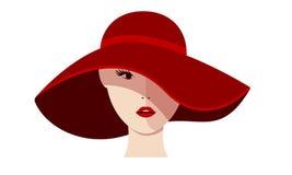 Mädchen in einem roten Hut Stockfotos