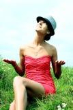 Mädchen in einem roten Kleid Lizenzfreie Stockfotos