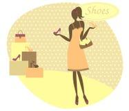 Mädchen an einem Schuh-Speicher Stockfotos