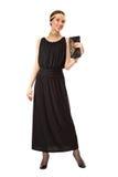 Mädchen in einem schwarzen Retro- Kleid Stockfoto