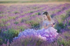 Mädchen in einem Strohhut auf einem Gebiet des Lavendels mit einem Korb des Lavendels Ein Mädchen auf einem Lavendelgebiet Mädche Lizenzfreies Stockbild