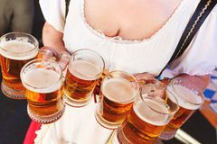 Mädchen in einem Trachtenkleid mit große Brüste und tiefer Ausschnitt hält volle Becher Bier Lizenzfreie Stockbilder