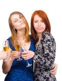 Mädchen an einem trinkenden Wein der Party Lizenzfreies Stockfoto