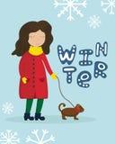 Mädchen in einem Wintermantel gehend mit einem Hund Flacher Wintervektor lizenzfreie stockfotografie