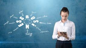Mädchen in einer Klagenholdingauflage nahe der Wand mit einer Geschäftsideenskizze gezeichnet auf sie Konzept einer erfolgreichen Stockfotografie