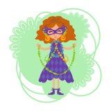 Mädchen in einer Maske mit Perlen Lizenzfreies Stockbild