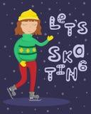 Mädchen in einer Strickjacke auf Rochen Flache Wintervektorillustration stockbilder