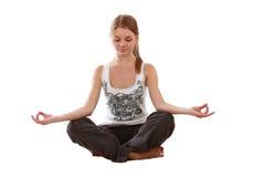 Mädchen eingerücktes Yoga Stockbild