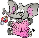 Mädchen-Elefant in den Pyjamas, die einen Friedensstifter halten Stockfoto
