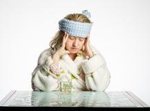 Mädchen erfährt eine Migräne Stockfoto