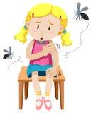 Mädchen erhält durch Moskitos gebissen lizenzfreie abbildung