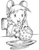Mädchen-Essenplätzchen-Skizze Stockfotografie