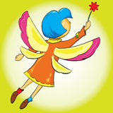 Mädchen flattert seine Flügel, die in die Luft fliegen Stockbild
