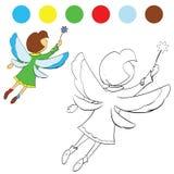 Mädchen flattert seine Flügel, zum von Kindern zu malen lizenzfreie abbildung