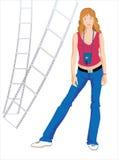 Mädchen - Fotograf auf weißem Hintergrund Stockfoto