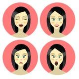 Mädchen, Frauengefühlcharakter, Freude, Glück, Überraschung, Ärger, Gleichmut, Zeichentrickfilm-Figur, flache Art Stockfotos